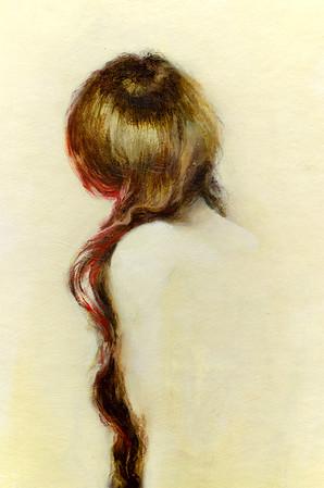 """Yūrei (detail)"" (oil on parachute cloth) by Jocelyn MacDonald"