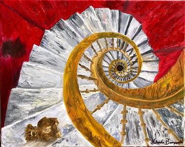 """Abandoned Staircase"" (oil) by Niharika Burugapalli"