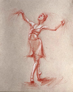 """Dance passions: a Moment on Pointe"" (red pencil) by Veronika Doljenkova"
