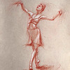 """""""Dance passions: a Moment on Pointe"""" (red pencil) by Veronika Doljenkova"""