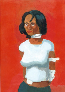 """Woman with Red Background"" (acrylic on paper) by Royce Brown"