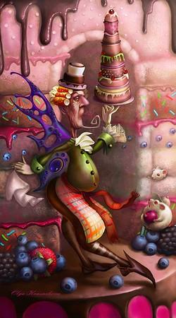 """""""Cook elf and mouses helpers"""" (digital painting) by Olga Krasnikova"""
