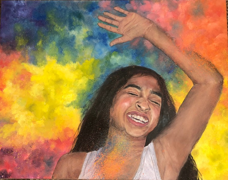 """Pure Joy"" (oil) by Niharika Burugapalli"