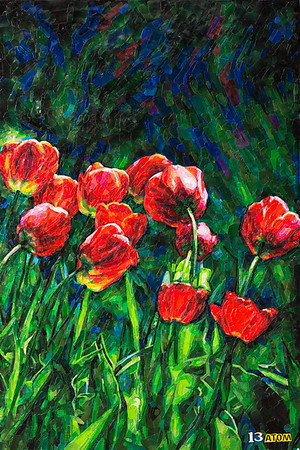 """Scarlet Flowers"" (aluminum) by 13 Atom"