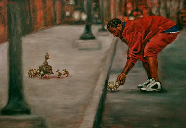 """Urban Samaritan"" (oil on board) by Linda Massey"