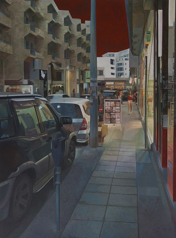 """City of Larnaca"" (egg tempera on paper) by Michael Michael"
