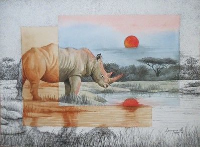 """Red Sunset for the Rhino"" (watercolor, pen) by Leonora de Lange"