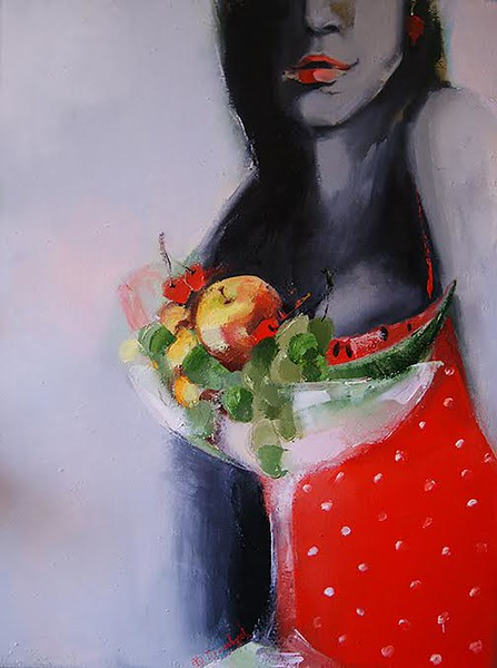 """""""In Red"""" (oil on canvas) by Oksana Domasych"""