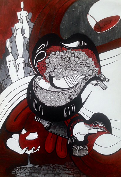 """The Bloody Poison"" (	 ink pen, acrylic painting, watercolor) by Vera Kurilo"