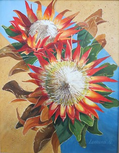 """Red Proteas ( National Emblem!)"" (acrylic) by Leonora de Lange"