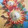 """Red Proteas ( National Emblem!)"" (acrylic) by Leonora de Lange"