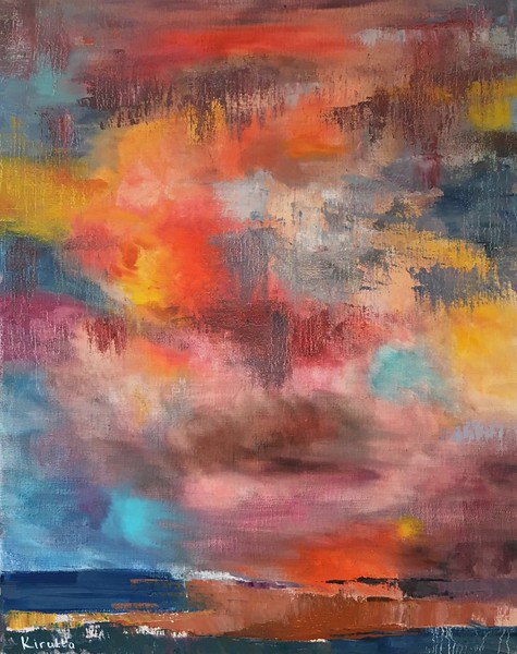 """Red Sunset"" (oil on canvas) by Elena Kirutta"