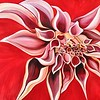"""Red Dahlia"" (acrylic on canvas) by Natalie Reilly"
