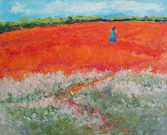 """Walking the red carpet"" (oil) by Padmaja Madhu"
