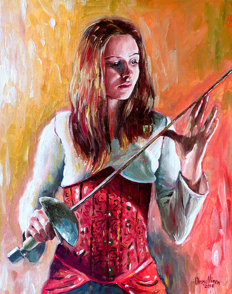 """""""The girl with epee"""" (oil on canvas) by Ivan Onnellinen"""