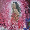 """Lady in Red"" (acrylic on canvas) by Valdengrave Okumu"