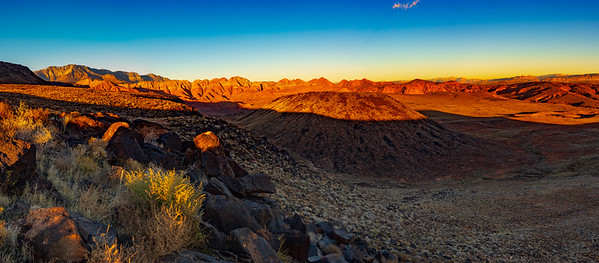 Panorama of Green Springs Cinder Cone and the Candy Cliffs from the Broken Mesa as the Sun Sets