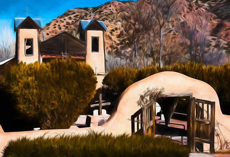 Santurario de Chimayo, New Mexico, rendered in a Georgia O'Keefe painterly style