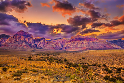 """Sunset over the Rainbow Wall,"" Red Rock Canyon, Las Vegas"