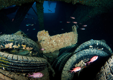Tires inside the Thistlegorm Wreck