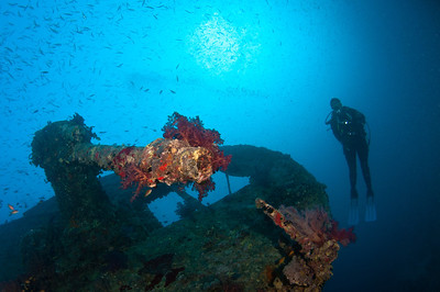 Diver with the Bow Gun on the Thistlegorm Wreck