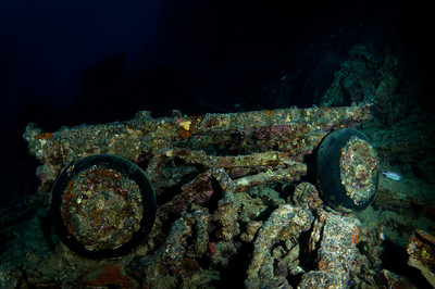 Truck chassis wreckage from the Thistlegorm
