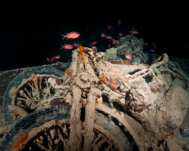 Motorcycles inside the Thistlegorm Wreck