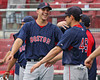 Justin Masterson laughing with Jacoby Ellsbury.