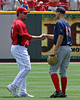 Aaron Harang (Friday's victor) came over to talk to Masterson (the hard-luck loser), which was great to see.
