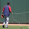 A few folks in the outfield had various contraptions designed to snare stray balls. Papelbon got into the act.