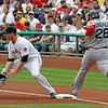 Gonzo is a speed demon beating this grounder out!