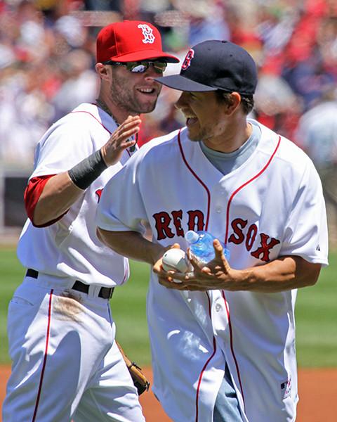 Dustin Pedroia, catcher, makes amends.