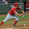 Peter Bourjos of the Los Angeles Angels of Anaheim drops down a bunt, August 19, 2010.