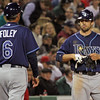 """Sam Fuld advances to third on Damon's grounder after his double in the ninth. I'm sure Foley has just asked """"Why didn't you stop at first?"""" April 11, 2011"""