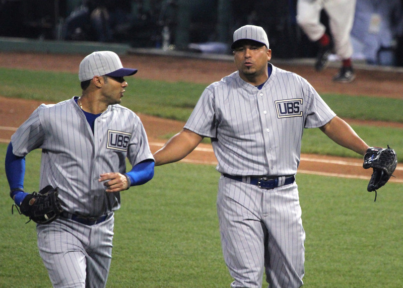 "Hmmn. Pena said something to Zambrano, and Zambrano raised his arms in ""what?!"" response. I really hope Pena wasn't asking why Zambrano hadn't hit anyone in retribution yet. (It would actually be pretty ironic.)"