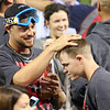 Lavarnway delivers a beer shampoo.