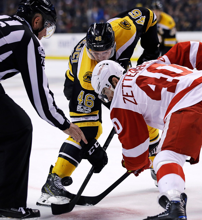 . Boston Bruins center David Krejci (46) and Detroit Red Wings left wing Henrik Zetterberg (40) battle for the puck on a face-off during the second period of an NHL hockey game in Boston, Tuesday, Jan. 24, 2017. (AP Photo/Charles Krupa)