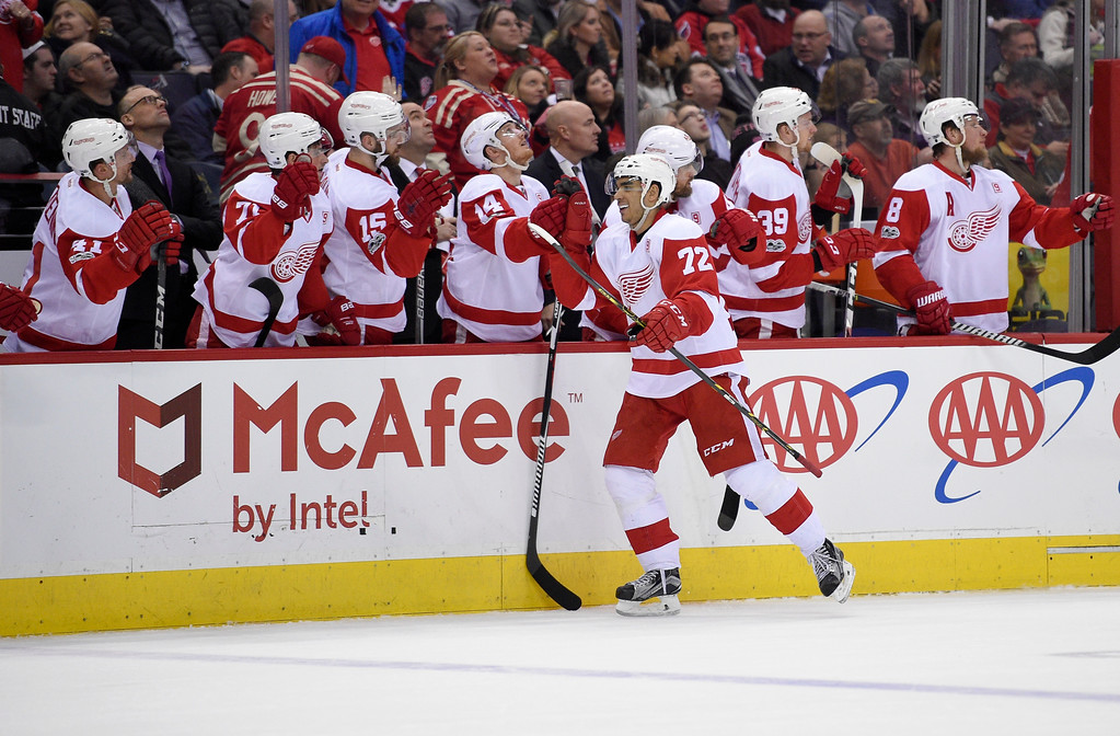 . Detroit Red Wings center Andreas Athanasiou (72) celebrates his goal during the first period of an NHL hockey game against the Washington Capitals, Thursday, Feb. 9, 2017, in Washington. (AP Photo/Nick Wass)