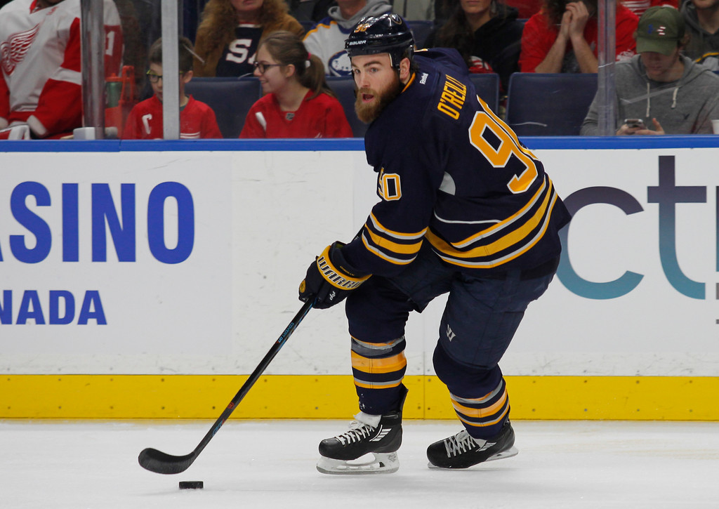 . Buffalo Sabres forward Ryan O\'Reilly (90) skates during the first period of the team\'s NHL hockey game against the Detroit Red Wings, Friday, Jan. 20, 2017, in Buffalo, N.Y. (AP Photo/Jeffrey T. Barnes)