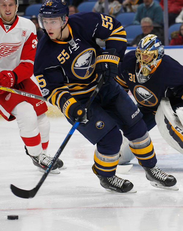 . Buffalo Sabres defenseman Rasmus Ristolainen (55) controls the puck during the second period of the team\'s NHL hockey game against the Detroit Red Wings, Friday, Jan. 20, 2017, in Buffalo, N.Y. (AP Photo/Jeffrey T. Barnes)