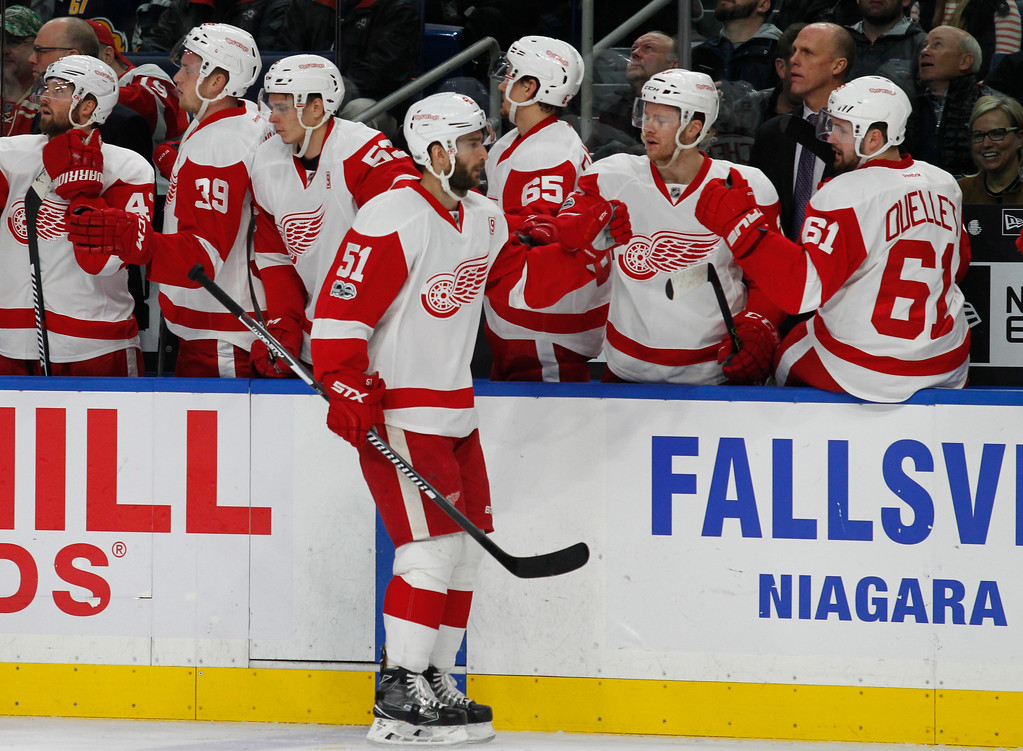 . Detroit Red Wings forward Frans Nielsen (51) celebrates his goal during the first period of the team\'s NHL hockey game against the Buffalo Sabres, Friday, Jan. 20, 2017, in Buffalo, N.Y. (AP Photo/Jeffrey T. Barnes)