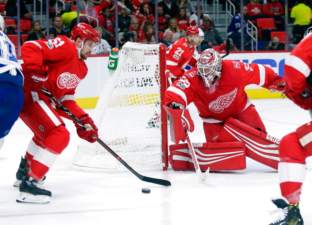 . Detroit Red Wings defenseman Xavier Ouellet (61), of France, tries clearing the puck away from goalie Jimmy Howard (35) during the first period of NHL hockey game against the Tampa Bay Lightning, Monday, Oct. 16, 2017, in Detroit. (AP Photo/Duane Burleson)