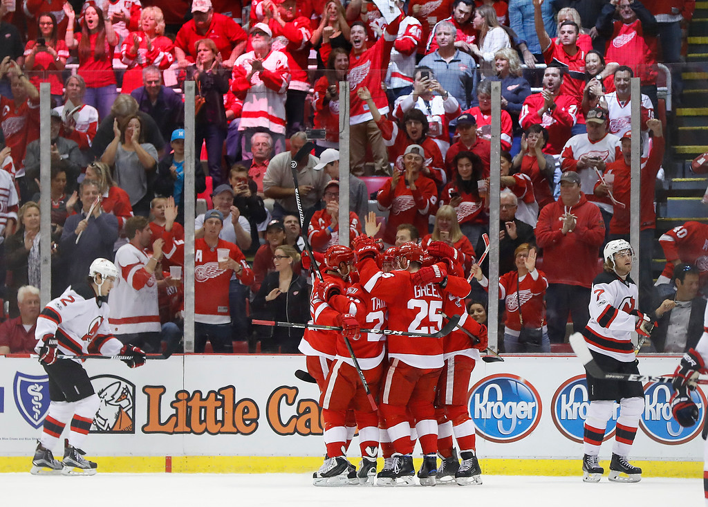 . Detroit Red Wings left wing Tomas Tatar celebrates his goal against the New Jersey Devils during the first period of the final NHL hockey game at Joe Louis Arena, Sunday, April 9, 2017, in Detroit. (AP Photo/Paul Sancya)