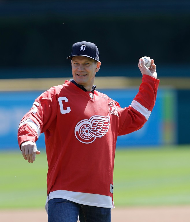 . Former Detroit Red Wings Hall of Famer Nicklas Lidstrom throws the ceremonial first pitch before the first inning of a baseball game between the Detroit Tigers and the Boston Red Sox, Sunday, April 9, 2017, in Detroit. (AP Photo/Carlos Osorio)