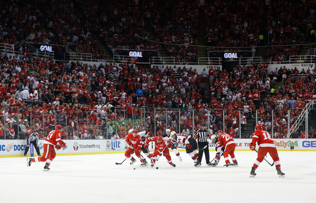 . The Detroit Red Wings and New Jersey Devils play during the first period of the final NHL hockey game at Joe Louis Arena, Sunday, April 9, 2017, in Detroit. (AP Photo/Paul Sancya)