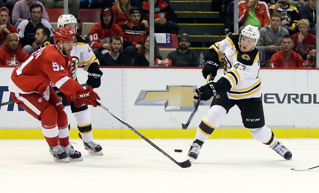 . Boston Bruins center Danton Heinen (43) shoots on goal against Detroit Red Wings center Frans Nielsen (51), of Denmark, during the first period of an NHL hockey game Saturday, Oct. 29, 2016, in Detroit. (AP Photo/Duane Burleson)
