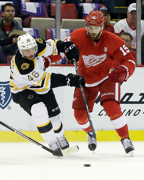 . Boston Bruins center David Krejci (46), of the Czech Republic, maintains control of the puck against Detroit Red Wings center Riley Sheahan (15) during the first period of an NHL hockey game Saturday, Oct. 29, 2016, in Detroit. (AP Photo/Duane Burleson)