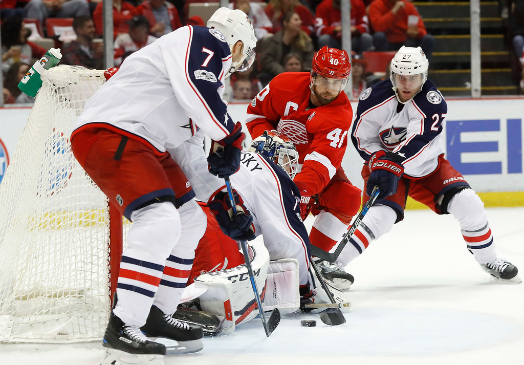 . Columbus Blue Jackets goalie Sergei Bobrovsky (72) stops a Detroit Red Wings left wing Henrik Zetterberg (40) shot in the second period of an NHL hockey game Tuesday, Feb. 7, 2017, in Detroit. (AP Photo/Paul Sancya)