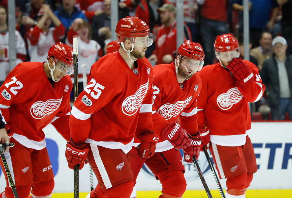 . Detroit Red Wings left wing Thomas Vanek, third from left, celebrates his goal against the Columbus Blue Jackets in the second period of an NHL hockey game Tuesday, Feb. 7, 2017, in Detroit. (AP Photo/Paul Sancya)