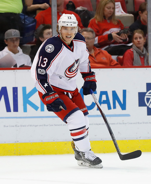 . Columbus Blue Jackets right wing Cam Atkinson (13) reacts to his goal against the Detroit Red Wings in the first period of an NHL hockey game Tuesday, Feb. 7, 2017, in Detroit. (AP Photo/Paul Sancya)